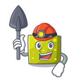 miner square mascot cartoon style vector image vector image