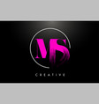 pink ms brush stroke letter logo design vector image vector image