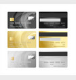 realistic detailed 3d plastic card set vector image vector image