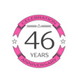 realistic forty six years anniversary celebration vector image vector image