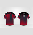 red and black pattern sport football kits t-shirt vector image vector image
