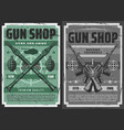 retro posters military weapon ammo and gun shop vector image vector image