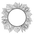 round frame with tropical jungle palm leaves vector image