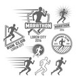 running club set of monochrome emblems vector image vector image