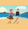 senior couple walking on the beach vector image