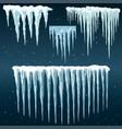 snowdrifts icicles ice caps set snowcap vector image