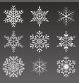 snowflakes collection isolated on black background vector image vector image