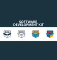 software development kit icon set premium symbol vector image vector image