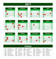 Template green Calendar 2017 year vector image vector image