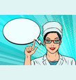 woman doctor says or recommends a comic book vector image vector image