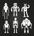 white robots and cyborgs on chalkboard vector image