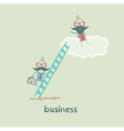 businessman climbing the stairs to the cloud to vector image