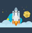 space shuttle soars into orbit earth bright vector image