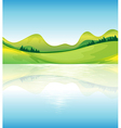 A view of the water and the green land resources vector image vector image