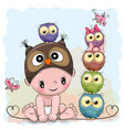 baby boy in a owl hat and five owls vector image vector image