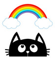 black cat looking up to cloud and rainbow cute vector image vector image