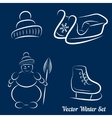 Calligraphic winter drawings on a dark blue vector image