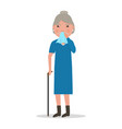 cartoon old woman caught cold sneezing ill vector image vector image
