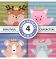 cartoon set animals - deer pig bear mouse vector image