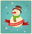 Christmas background with hipster snowman vector image vector image