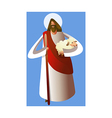 Close-up of Jesus Christ holding sheep vector image vector image