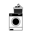 contour electronic washing machine and basket with vector image vector image