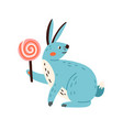 cute happy rabbit with lollipop smiling bunny vector image vector image