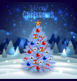 Decorated Christmas tree on night winter scenery vector image vector image