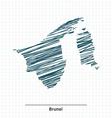 Doodle sketch of Brunei map vector image