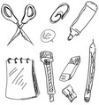 drawn stationery on white vector image vector image
