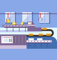 factory with conveyor belt and mass production vector image
