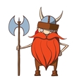 Funny cartoon viking with an ax vector image vector image