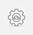 gear with cloud linear cloud computing vector image vector image