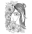 girl in the floral frame vector image vector image