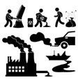 global warming illegal pollution destroying green vector image vector image