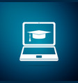 graduation cap and laptop icon on blue background vector image vector image