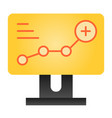 growth chart flat icon diagram on computer color vector image vector image