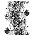 Hand drawn seamless border with flowers vector image vector image