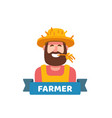 happy cute farmer vector image vector image