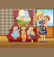 happy family at home vector image vector image
