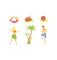 hawaiian party objects set symbols tropical vector image