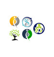 healthy holistic center set vector image vector image