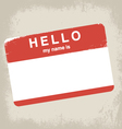 hello my name is label design vector image vector image