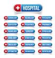 hospital hedicine outline button set vector image
