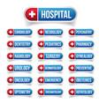 hospital medicine outline button set vector image