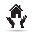 house in hand palm black simple icon home buy or vector image