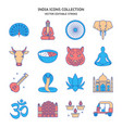 india icons set in colored line style vector image vector image