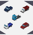 isometric transport set of freight car suv and vector image