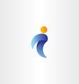 letter i man icon orange blue logo logotype symbol vector image vector image