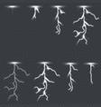 lighting thunderbolt set isolated on transparent vector image
